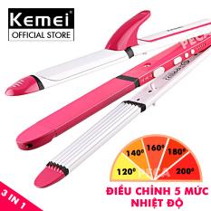 Máy làm tóc đa năng 3 in 1 điều chỉnh nhiệt 5 mức Kemei KM-3304 có thể uốn,duỗi,bấm tiện lợi,làm nóng nhanh – phân phối chính hãng