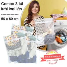 Combo 3 túi lưới giặt đồ loại lớn th1shop 50x60cm