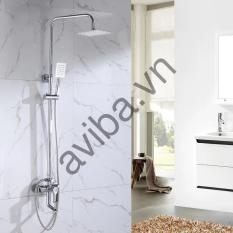 Bộ vòi sen cây tắm nóng lạnh inox 304 chống bám vân tay sen bát sen vuông – Nhập khẩu Ý ( Trắng Bạc )