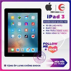 Máy tính bảng iPad 3 – 64G/32G/16G, bản 4G + WIFI Quốc Tế RAM 1GB, Màn hình 9.7 inch Full HD, Pin dung lượng cao 11560 mah, Camera sau 5MP – Khuyến mãi tặng củ zin iPad 12W phụ kiện và ốp lưng- MR CAU