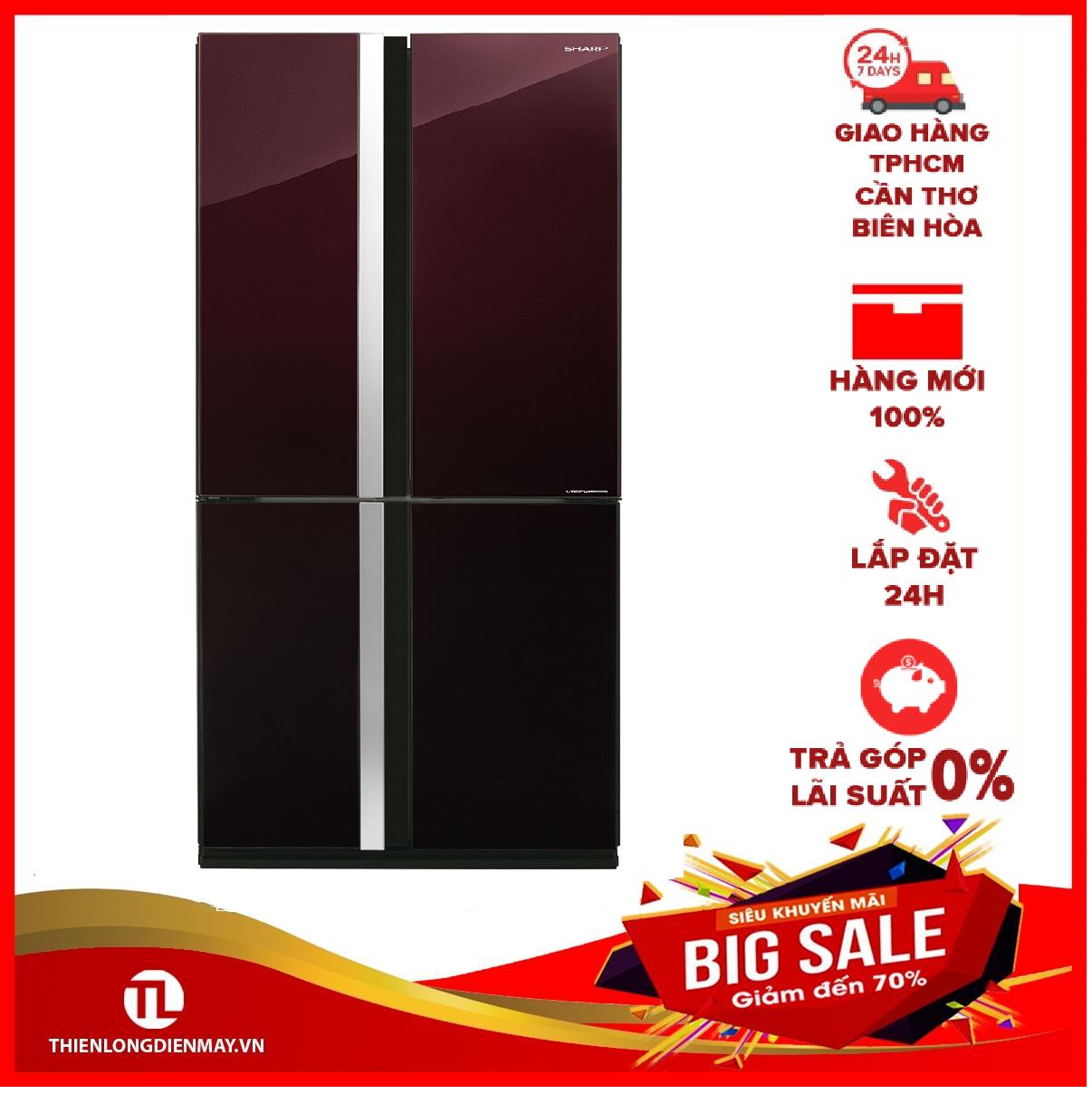 [Nhập ELMAY21 giảm 10% tối đa 200k đơn từ 99k]TRẢ GÓP 0% – Tủ lạnh Sharp Inverter 678 lít SJ-FX688VG-RD – Bảo hành 12 tháng