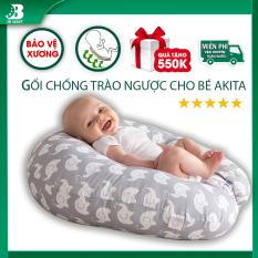 Gối chống trào ngược cho bé AKITA ROYAL cao cấp, gối cho bé ngủ ngon giấc, chất liệu 100% cotton an toàn, bảo vệ xương, nệm cho bé tập lẫy, tập bò, tặng khóa học 550K, lỗi 1 đổi 1