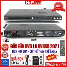 Đầu đĩa DVD Karaoke LG DV450 2021 H2Pro, USB-Thẻ nhớ, tích hợp loa. đầu dvd tích hợp amply lắp thêm loa (tặng dây av và đọc thẻ 60k)