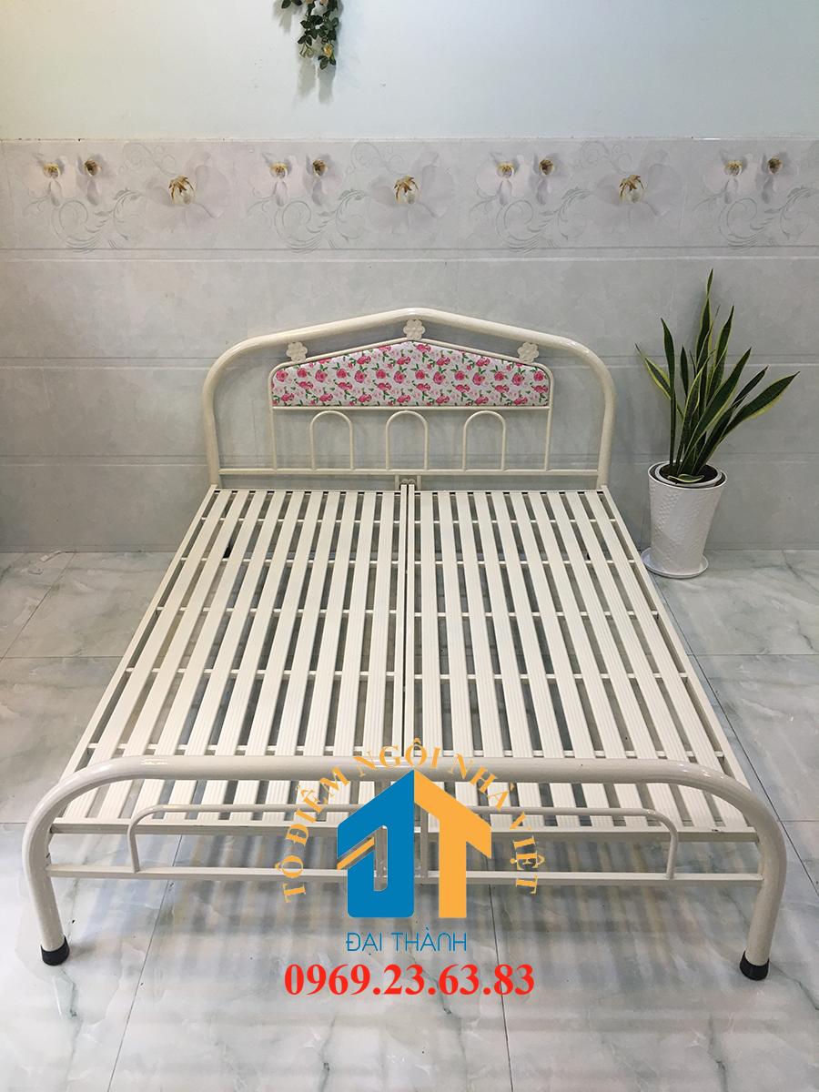Giường sắt Đại Thành ngang 1m6 dài 2m màu (kem, xanh) kiểu dáng hiện đại sang trọng hàng đẹp hàng Việt Nam chất lương cao Nội Thất Đại Thành