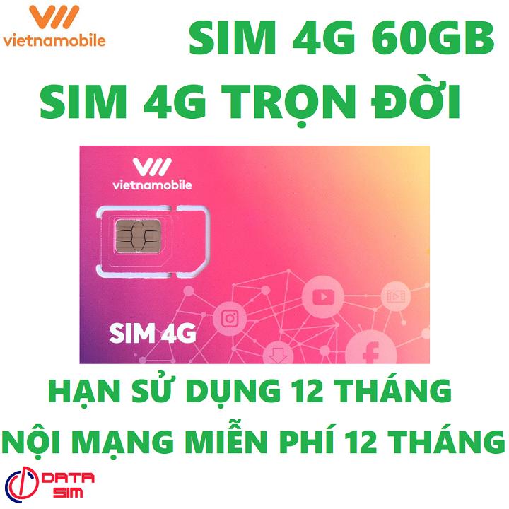 Sim 4G vietnamobile trọn đời 60GB hạn sử dụng 12 tháng