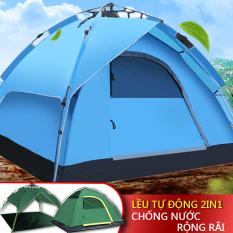 Lều dã ngoại tự động giá đỡ thủy lực 3-4 người hai tầng lều cắm trại, lều câu cá, lều bãi biển hai lớp chống nắng thoáng khí không gian lớn camry