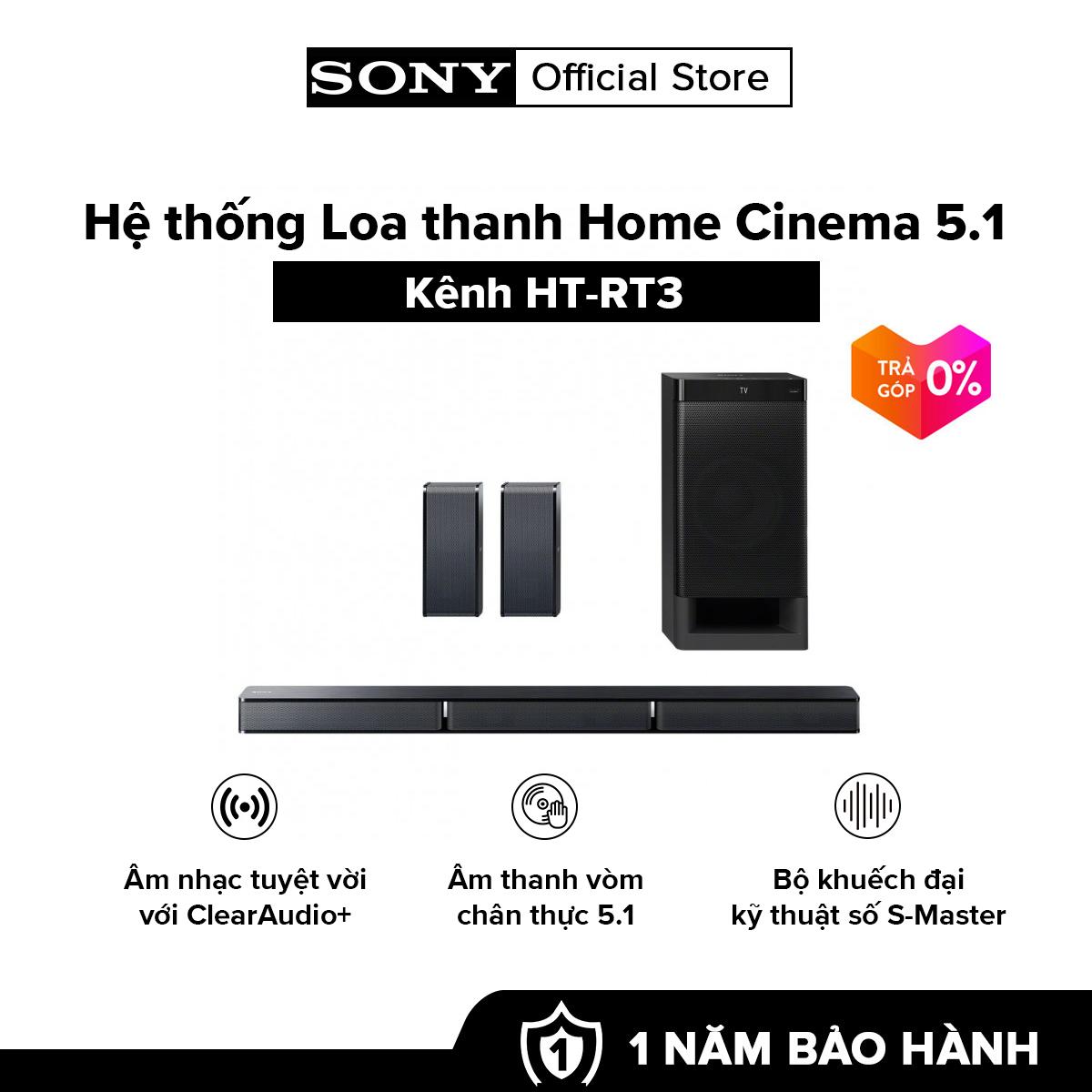 [HÀNG CHÍNH HÃNG – TRẢ GÓP 0%] Hệ thống Loa thanh Home Cinema 5.1 kênh HT-RT3 Âm thanh vòm chân thực 5.1 Bộ khuếch đại kỹ thuật số S-Master
