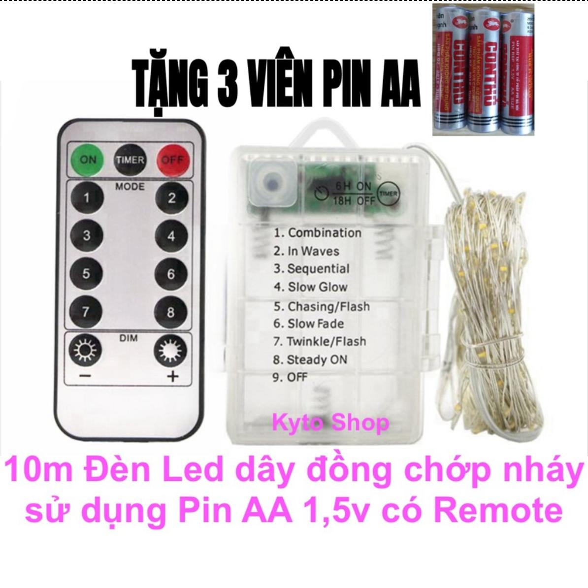 10m Dây đèn led trang trí chớp nháy có remote điều khiển sử dụng 3 pin aa 1.5v, đèn led dây đồng, Dây đèn trang trí phòng khách, phòng ngủ, tiệc giáng sinh, trong nhà, ngoài vườn, sinh nhật, năm mới | Kyto Shop