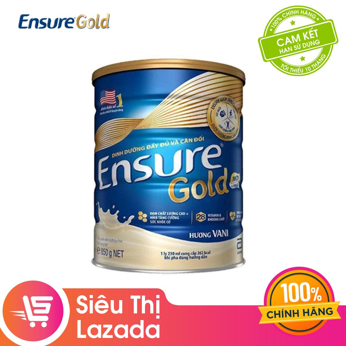 Lon sữa bột Ensure Gold Hương Vani 850g – Giới hạn 5 sản phẩm/khách hàng