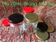 Combo 10 hũ thủy tinh 70ml, nắp vàng hoặc đen (bao gồm 10 hũ và 10 nắp)