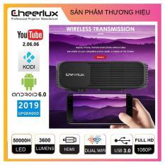 Máy chiếu projector Cheerlux CL760 UP 2019, HĐH Android 6.0, kết nối WIFI, Bluetooth, độ nét cao 150 inch hỗ trợ Full HD, Độ sáng 3600 Lumens, đèn LED 150W sáng rõ, kết nối không dây với điện thoại.