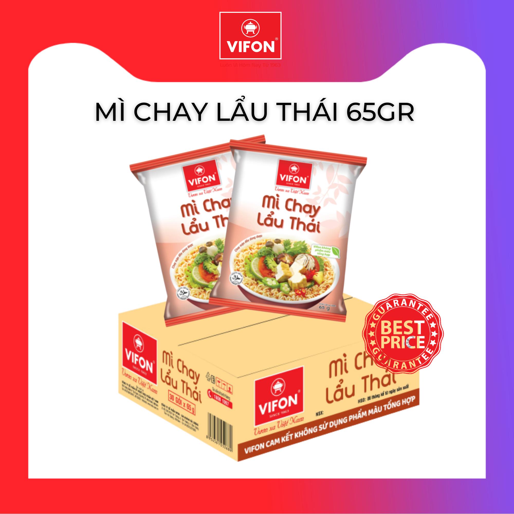 Thùng 30 Gói Mì Chay Lẩu Thái VIFON 65g