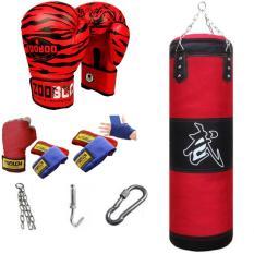 SET vỏ bao cát boxing dây xích 3 lớp – combo 5 món – 1 đôi găng tay boxing mma, 1 cặp dây quấn dài 3m, 1 bộ xích treo, khuy cài, móc treo bằng sắt siêu bền