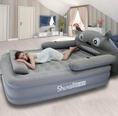 Bộ sản phẩm giường hơi hình mèo xám cao (150 x 220 x 40cm) Tặng kèm bơm điện, gối, bịt mắt, bịt tai, keo và miếng vá
