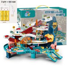 (tặng pin sạc) Đồ chơi Garage đỗ xe Ô TÔ lắp ráp đường ray khủng long 3 tầng cao cấp, đồ chơi giáo dục cho bé