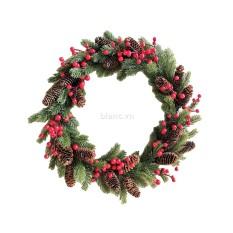 Vòng nguyệt quế Noel quả thông và berry trang trí Giáng sinh