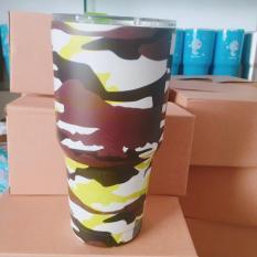 Ly Giữ Nhiệt Yeti 900ml Màu Bạc Inox Full Phụ kiện + 2 ống hút + Cọ rữa + Túi ( Hình và màu Túi Ngẫu Nhiên )