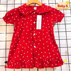 [HCM]Váy đỏ chấm bi cho bé 8-23kg chất lụa mềm nhẹ mát phối cổ bèo cho bé thêm xinh yêu Baby-S – SD080