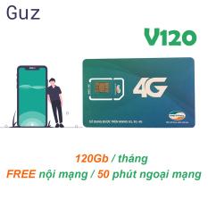 Sim 4G Viettel [Miễn phí tháng đầu] gói 4GB/ngày (120Gb/tháng) V120 + 50 Phút gọi ngoại mạng + Gọi nội mạng