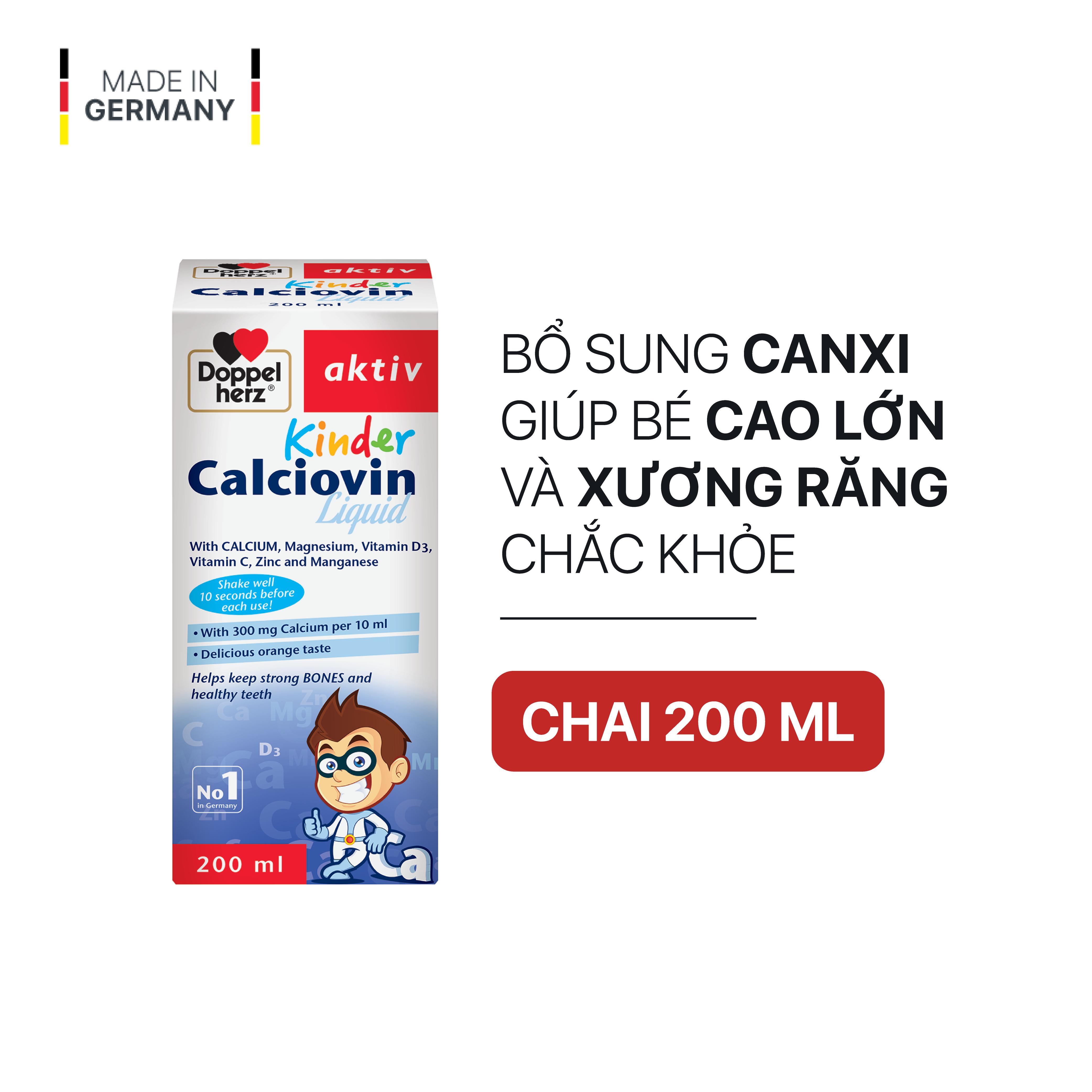 Siro bổ sung Canxi hữu cơ dành cho bé Doppelherz Aktiv Kinder Calciovin Liquid (Chai 200ml)