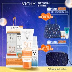 Bộ kem chống nắng có màu ngăn sạm da, giảm thâm nám Vichy Ideal Soleil Anti-Darkspot SPF50 50ml và Dưỡng chất Mineral 89 10ml