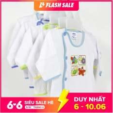 Bộ 5 áo sơ sinh dài tay Bosini màu trắng cúc lệch cho bé từ 0-12 tháng