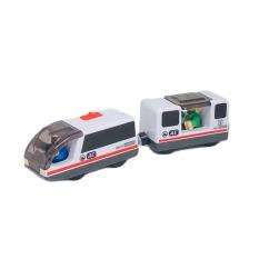 Tàu điện chạy pin, phụ kiện chơi kèm đường ray xe lửa gỗ, tương thích với đường ray Hape, Brio, Edwone, Ginimag.