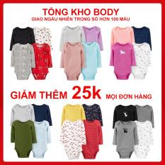 Set 4 body dài tay bé trai, bé gái (body chip dài tay), bộ bodysuit cotton cho bé, bộ quần áo cho trẻ sơ sinh, bộ body cho bé, set 5 body