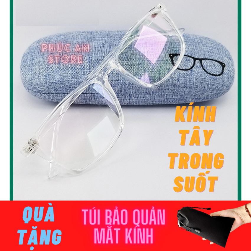 [HCM]Mắt Kính Tây Thời Trang Trong Suốt Bách Hóa Center – Quà Tặng kèm Túi đựng Bảo vệ kính tiện dụng