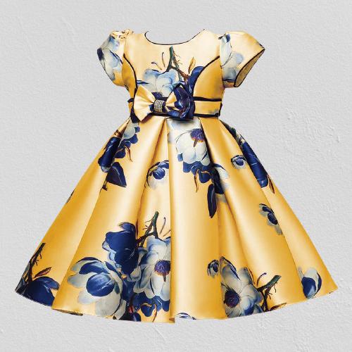 Váy bé gái đầm bé gái đầm công chúa dự tiệc cho bé gái tay bồng in hoa 3D BG028 đầm cho bé gái từ 7 8 9 10 11 12 13 14 15 nặng 28 đến 30 35 40 45 kg