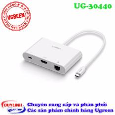 Cáp USB Type C to HDMI + Ethernet+Hub , Ethernet: 10/100Mbps UGREEN 30440