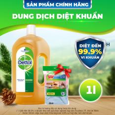 [VOUCHER 8%]Dung dịch diệt khuẩn đa năng Dettol 1L tặng 1 gói khăn lau chùi 3M – 3 cái