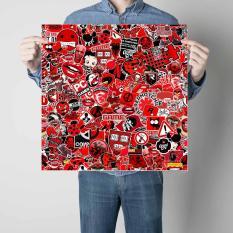 Sticker bomber hình dán nguyên tấm 50x50cm – Black Red