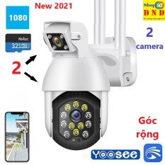 Camera WIFI CP11, thế hệ mới, 2 ống kính, góc rộng, có led hỗ trợ quay đêm có màu (App Ycc365 Plus) (Chạy đâu cho thoát)