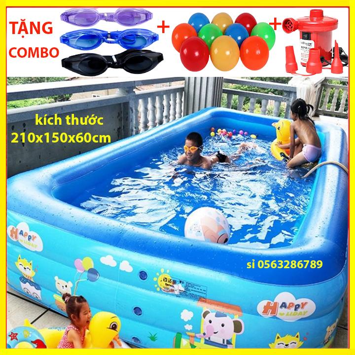 [ CHỌN COMBO ] Bể Bơi Phao Trẻ Em 3 Tầng bể bơi cho bé, bể bơi cho bé người lớn 2M1 Hình Chữ Nhật Khổ 210cm x 145cm x 60cm Họa Tiết Nghộ Nghĩnh, bể bơi phao đại dương, bể bơi gia đình – BEBOI2m1