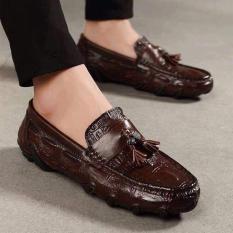 Giày mọi nam da bò hình cá sấu thời trang (NÂU)