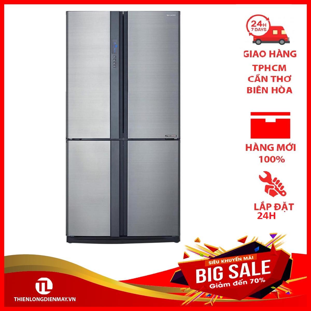 Tủ lạnh Sharp SJ-FX631V-SL 626L, 4 cửa, công nghệ J-Tech Inverter, khử mùi Nano Bạc – Đồng, khay kính chịu lực – Bảo hành 12 tháng