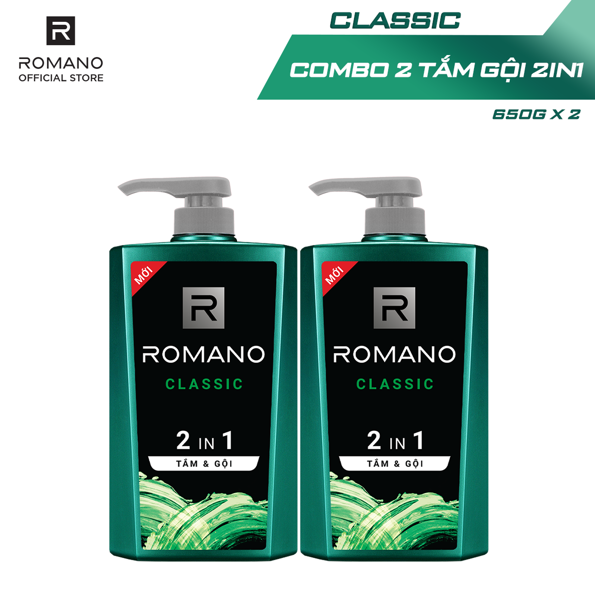Combo 2 Tắm gội 2 trong 1 Romano Classic 650g/chai