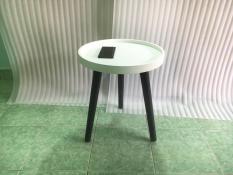 BSF – Bàn tròn viền trắng chân đen 40×45, bàn trà, bàn sofa, bàn cafe, coffee, cà phê, bàn gỗ phòng khách