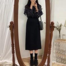 Chân váy midi dáng A suông dài
