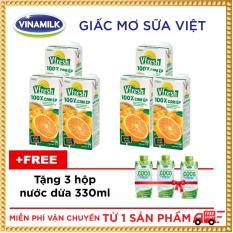 Bộ 6 Hộp Nước cam ép Hộp giấy Vinamilk Vfresh 100% 1L_Tặng 3 hộp nước dừa Coco Fresh 330ml