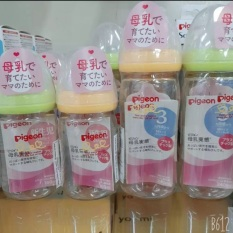 Combo 2 bình sữa pigeon 160ml và 240ml cổ rộng, nội địa Nhật