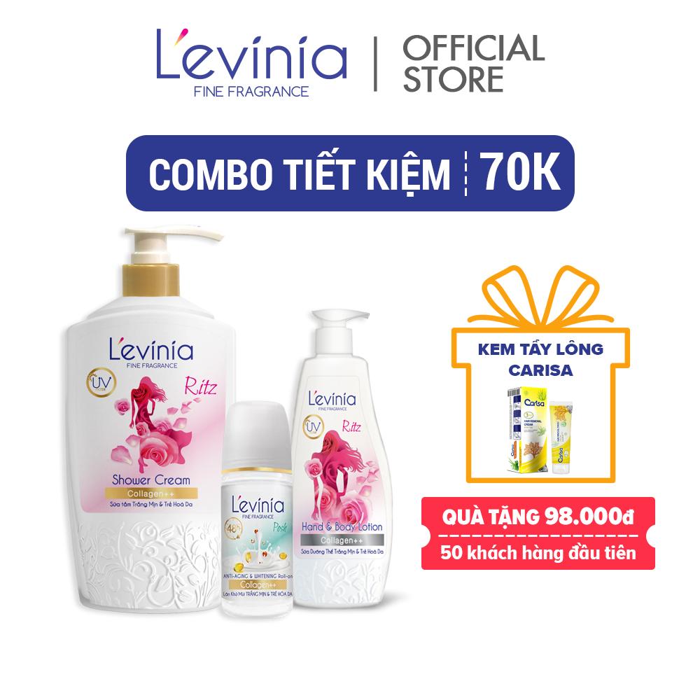 [Combo tiết kiệm 70k] Combo Sữa tắm + Sữa dưỡng thể + Nước hoa Trẻ Trung Ritz L'evinia