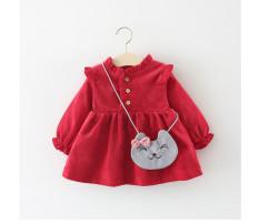 Váy nhung tăm 2 lớp mềm mịn cho bé gái mùa thu đông