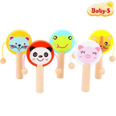 Lục lạc trống gỗ hình thú đủ màu sắc bắt mắt cho bé làm quen với âm thanh hỗ trợ sự phát triển của bé Baby-S – SDC033