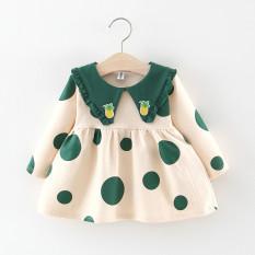 (Ảnh thật)Váy Dài Tay Bé Gái Dáng Babydoll Cổ Phối Bèo Thêu Hình Quả Dứa Họa Tiết Chấm Bi Thời Trang Julykids VAY G10010