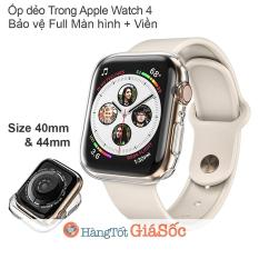 Ốp silicon Trong 2in1 Full Màn hình và Viền Apple Watch Series 4 (size 40mm/44mm, hangtotgiasoc)