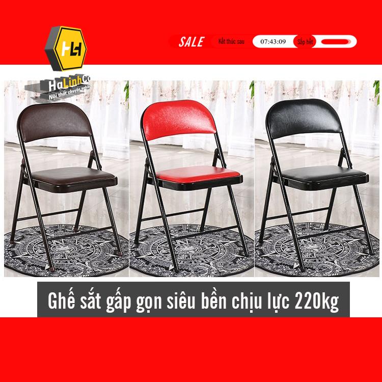 Ghế văn phòng gấp gọn siêu bền chịu lực đến 220kg (BH 12 tháng) ghế sắt sơn tĩnh điện ghế ăn ghế cà phê