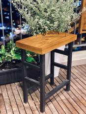 Ghế Bar mặt gỗ chân sắt, ghế đôn cao chữ nhật, ghế ban công