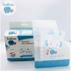 (Tách Hộp) Hộp 50 túi trữ sữa có vòi 250ml Babuu Nhật Bản hình Voi có vòi rót tiện lợi